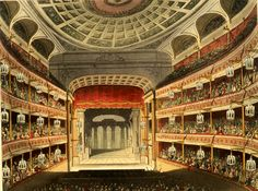THE ROYAL OPERA HOUSE,  COVENT GARDEN, London, England ~1810 illustration of the auditorium of the second theatre shortly after opening.