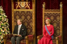 King Willem-Alexander and Queen Maxima in the Knights' Hall in The Hague.