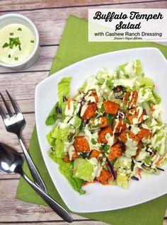 Buffalo Tempeh Salad with Cashew Ranch Dressing >> Dianne's Vegan Kitchen