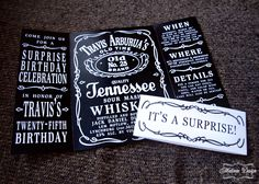 Jack Daniels birthday invites by Matinae Design Studio