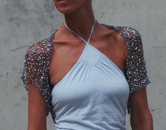 Shrug / Silver loose knit / evening  short sleeved by ileaiye, $59.00