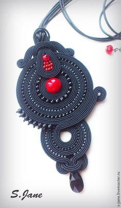Pendants handmade. Order pendant. Red and black .. Eugene. Fair Masters. Soutache, sutazhny pendant, coral Soutache Pendant, Soutache Necklace, Fabric Necklace, Diy Necklace, Necklaces, Paper Jewelry, Polymer Clay Jewelry, Jewelry Crafts, Beaded Jewelry