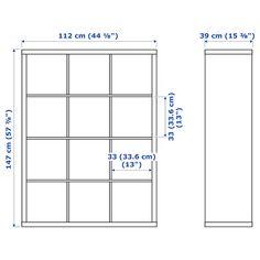"""KALLAX Shelf unit, black-brown, 44 1/8x57 7/8"""" - IKEA Ikea Craft Room, Craft Room Storage, Craft Desk, Ikea Kallax Shelf Unit, Kallax Desk, Kallax Insert, Scrapbook Room Organization, Craft Organization, Organizing Life"""