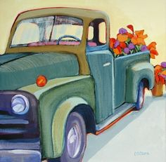 Daily Painting, Transport Truck, contemporary truck painting with flowers, painting by artist Carolee Clark Original Art, Original Paintings, Art Paintings, House Paintings, Truck Paint, Caribbean Art, Art Programs, Art Techniques, Art For Sale