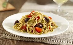 Barilla® Whole Grain Angel Hair with Pistachio & Basil Pesto, Cherry Tomatoes & Black Olives