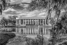 New Orleans Peristyle - Paint Bw.  The Peristyle was built in 1907 as a neo-classical open-air pavilion for dancing. It stands grandly beside Bayou Metairie in New Orleans' City Park. Paint version in B&W.
