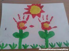 Manualidadesconmishijas: Flores con las huellas de la mano