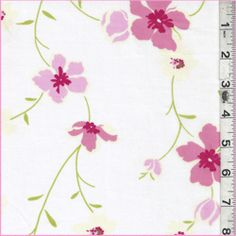 """White/Pink Floral Lawn - 100% Cotton, 58"""" wide"""