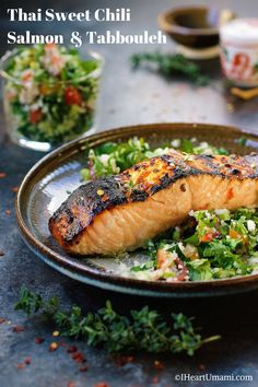 Paleo Thai sweet chili salmon tabbouleh (tabouli). Perfect holiday and everyday Paleo recipe. Paleo Asian food and Paleo Thai food recipe. Iheartumami.com