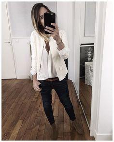 WEBSTA @ audreylombard - Tenue de ce matin avant changement pour aller trotter dans Paris et sous la pluie ☔️• Jacket #aninebing #aninebingparis (from @aninebing)• Belt #sezane (from @Sezane)• Silk Shirt