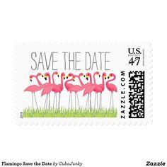Flamingo Save the Date Postage Stamp @zazzle #junkydotcom Sept 18 2016 5x