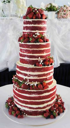 Red Velvet Naked Wedding Cake