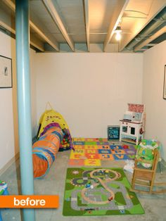 Before After Unfinished Basement Into Organized Chaos Play Space