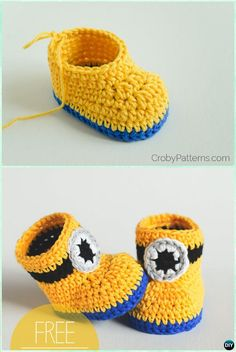 DIY Crochet Minion Baby Booties Free Pattern - Ankle High Baby Free Patterns Crochet Ankle High Baby Booties Free Patterns with Instructions: Keep baby feet in style and warmth with these baby booties/boots, holiday gift ideas. Crochet Baby Boots, Booties Crochet, Crochet Shoes, Crochet Slippers, Minion Baby, Minion Crochet, Diy Crochet, Crochet Ideas, Crochet Baby Blanket Beginner