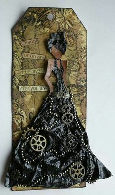 Julie Nutting Doll Steampunk tag as found on Marjie Kemper's board. Simple Pleasures Rubber Stamps and Scrapbooking.