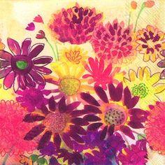 3175 Servilleta decorada flores