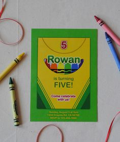 Have a budding artist celebrating a birthday? Why not have a crayon or art party? This is for the DESIGN only, customized to your parties Crayon Birthday Parties, Art Birthday, Birthday Party Invitations, Invites, Birthday Ideas, Kids Art Party, Color Crayons, Invitation Design, Party Planning