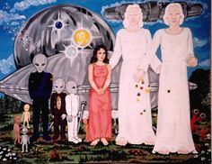 In this painting, Betty has illustrated the types of Beings and Craft that both, she and Bob, have come in contact with during their many UFO abduction experiences.