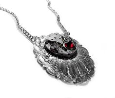 Steampunk Necklace Vintage PINSTRIPED Watch on by edmdesigns,