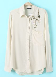 Apricot Long Sleeve Embroidery Pocket Blouse US$23.61