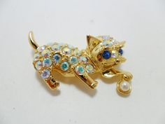 Vintage Brooch / Pin RARE Signed EISENBERG ICE Cat by KathiJanes, $99.00