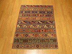3.3 x 5 Handmade High Quality Vegetable Dye Hand Spun Wool Afghan Shiravan Rug