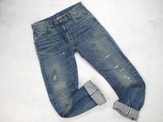 Levi's LVC vintage reproduction 505 Big E distressed/destroyed/repaired selvedge denim jeans size 34 x 33.