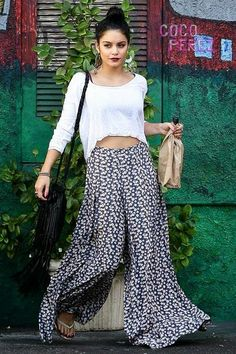 Super wide leg flowy printed patterned palazzo pants. Get the look with MHOC palazzo pants on sale now.