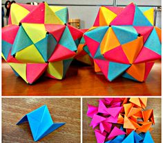 Here I show you how to make origami icosahedron from 30 sonobe pieces.