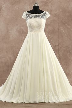 Fabulous A-Line Illusion Natural Court Train Chiffon Ivory Cap Sleeve Zipper With Buttons Wedding Dress with Appliques LD3375