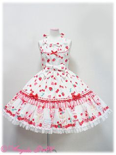 Lolibrary | Angelic Pretty - JSK - Strawberry Parlour Tiered JSK Yellow or White