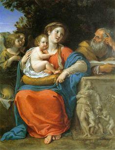 Francesco Albani (o Albano) (1578-1660)     Sacra Familia e due angeli, 1610    Olio su rame, 37,5 x 28,5 cm