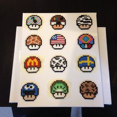 Mario mushrooms perler beads by tindrassons