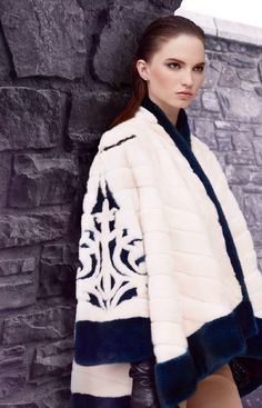 NAFA White and Dyed Mink Fur Jacket