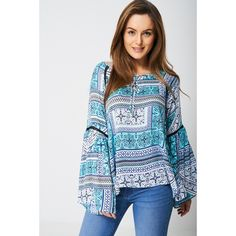 Fluted Sleeve Top in Aztec Bell Sleeve Top Outfit, Dresses For Less, Shades Of Blue, Latest Trends, Bell Sleeves, Summer Outfits, Girly, Stylish, Shabby Chic