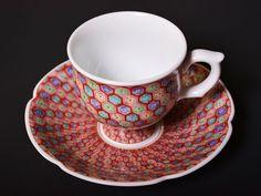 【有田焼】コーヒーカップ 色絵極細地紋の写真1