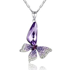 Purple Butterfly Wing Drop Necklace - ShoppingWithAdam.com