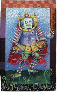 Cyborg Female 4: Mother Wit by Kathy Weaver - 90 x 54 inches    Airbrushed, appliquéd, pieced, hand embroidered, hand quilted