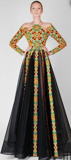 "Rami Kadi ""Un souffle d'Orient"", F/W - Couture African Dresses For Women, African Print Dresses, African Attire, African Wear, African Women, African Style, African Prints, African Fabric, African Inspired Fashion"