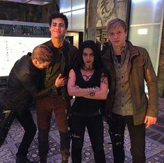 Dom, Matt, Emeraude and Will on set