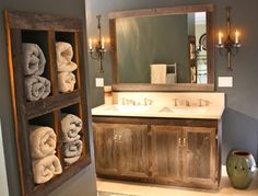 Image result for gray tile flooring and reclaimed lumber cabinets<<<Reclaimed lumber and farmhouse charm are so beautiful! I love the warmth they give. You can get these looks without changing your cabinets with Faux EZ.This cabinet would be about $30 and could be done in a day. Tutorials at www.fauxez.com.