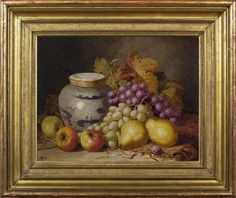 Charles Bale (fl.1866-92), Still life of Appleas, pears, grapes and a Chinese jar, oil on canvas, 35.6 x 45.7 cm. Reproduction 19th century French Louis XV revival ogee frame, water gilded