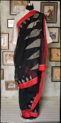 Old Bengal Hand Woven Soft Cotton Sari  Length 6 Yards  With Running Blouse Length 100 % Pure Cotton Medium Count Ships In 5 Working Days In India Free Shipping