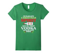 Womens Funny Christmas In July T Shirt - Christmas Spirit Vodka Tee XL Grass
