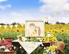 作家はちの描く似顔絵ウェルカムボード。 水彩絵の具のにじみを生かし、優しい木漏れ日の光に包まれるような、温かい空気感の流れる似顔絵をお描きします。 Lサイズ 2名様 似顔絵のWORLD1 作家はち #ウェルカムボード #似顔絵 #ウェルカムスペース #wedding #夏 #ひまわり #ガーデンウェディング