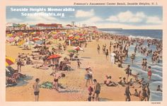 This is a Linen postcard of Freeman's Amusement Center Beach Seaide Heights, NJ 1940's LIKE–>http://www.facebook.com/seasideheightsorg WEB–>http://seasideheights.org/ Email this card to a friend!