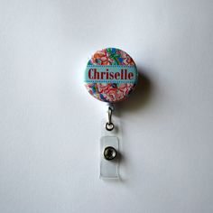 Personalized Retractable Badge Reels - Lilly Pulitzer - Floral Print - Pink - ID Holder - Customize - Your Name on Etsy, $7.99