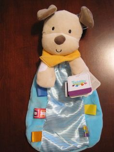 New NWT Genuine Taggies Aqua Tan Puppy Dog Security Blanket Lovey Rattle Baby Security Blanket, Blue Stripes, Dogs And Puppies, Aqua, Bags, Handbags, Water, Bag, Totes