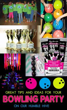 Bowling party birthday | bowling shirts | bowling trophy | glow in the dark table setting | bowling party invites: