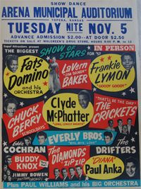 Biggest Show Of Stars Concert Poster Featuring Buddy Holly, Fats Domino, Eddie Cochran, Chuck Berry Topeka Kansas